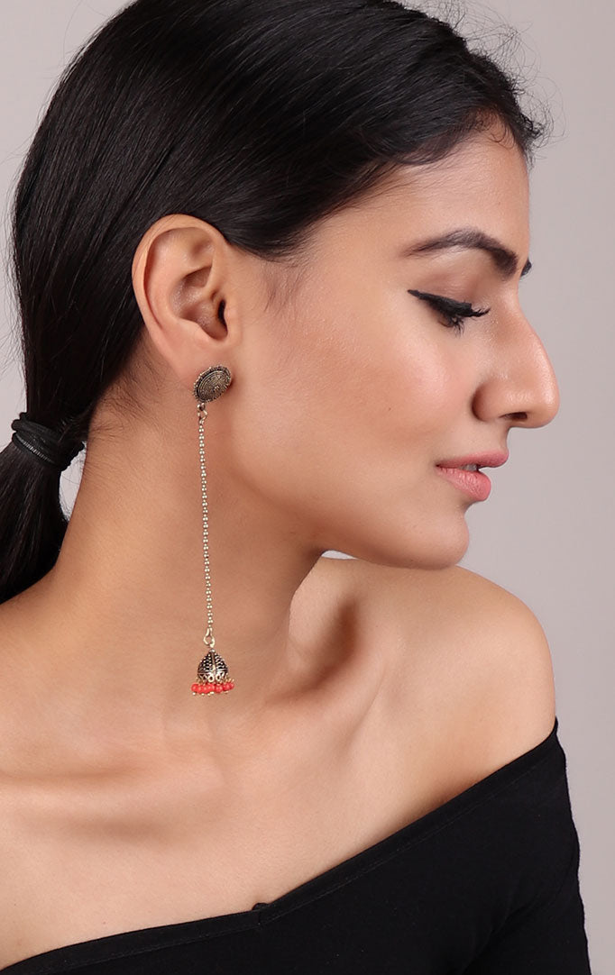 Delicate Long Jhumki in Golden-Red