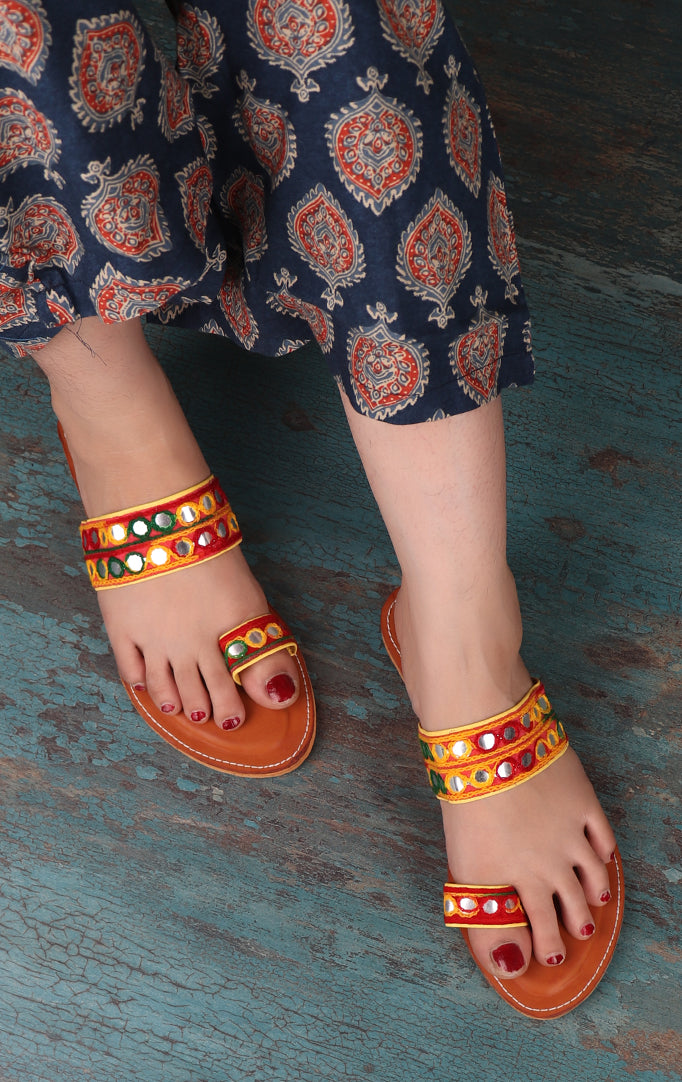 Mirror work Chappals in Yellow