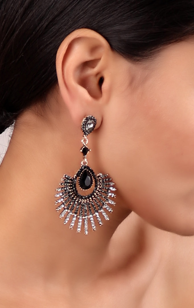 Modern Chaandbali-style Earrings in Silver-black