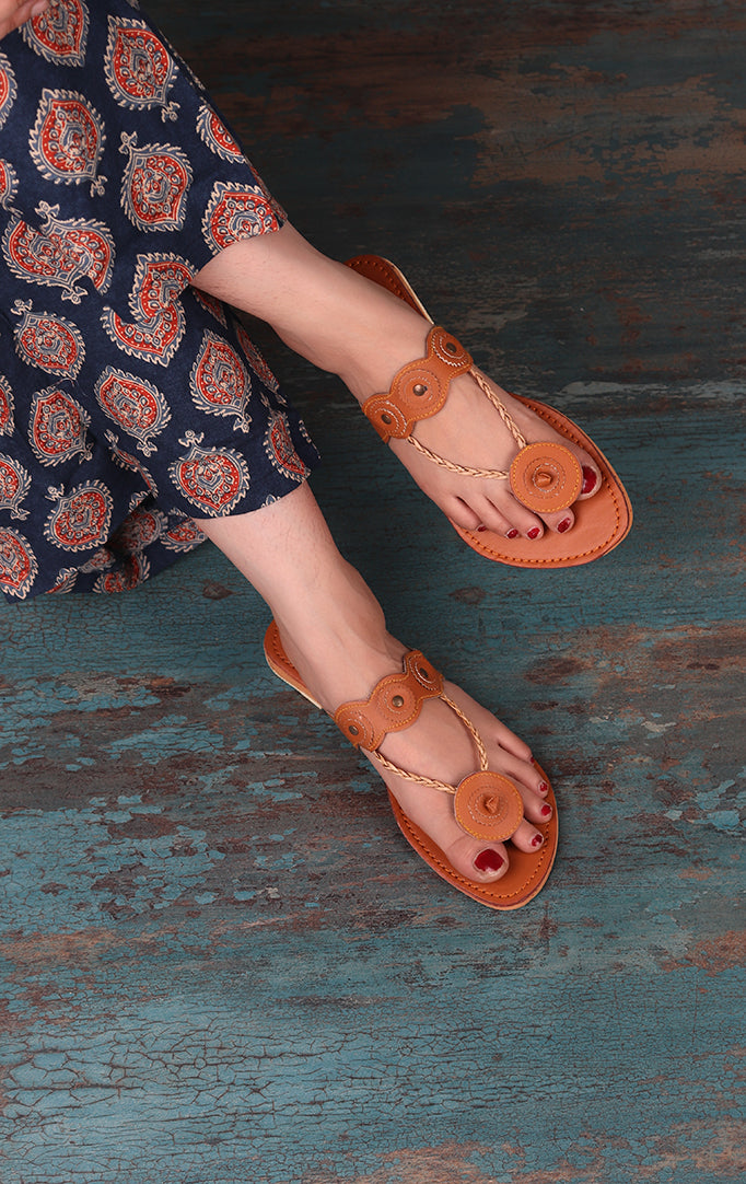 A Floral Connection Flats In Tan Hue