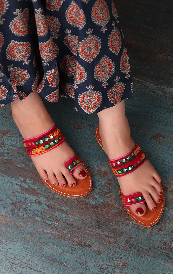 Multicolor Slip On Sandal