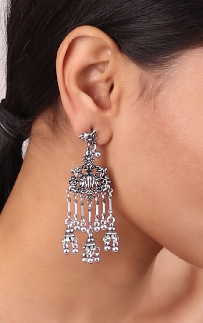 Delicate Long Jhumki in Silver
