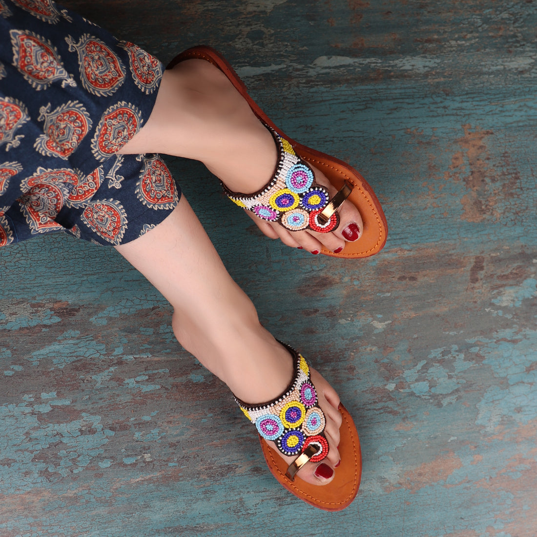 Beaded Colorful Chappals