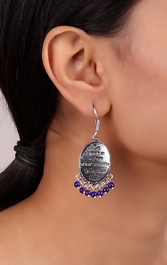 Gayatri Mantra Earrings with Blue Beads