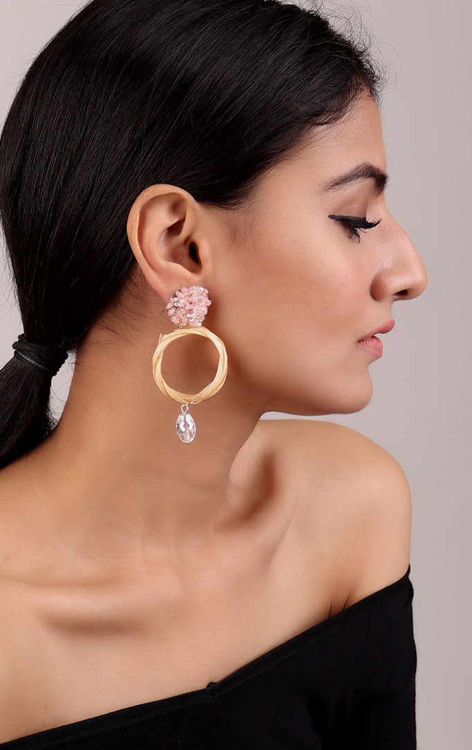 Beaded Circular Statement Earrings