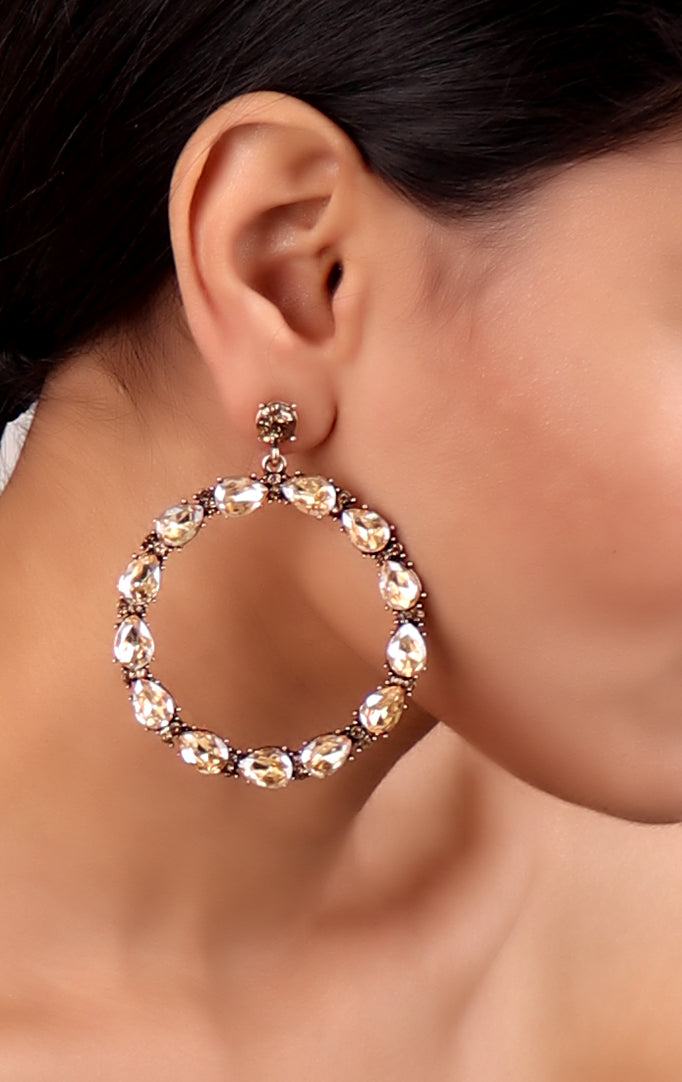 Light Gold Crystal Hoops