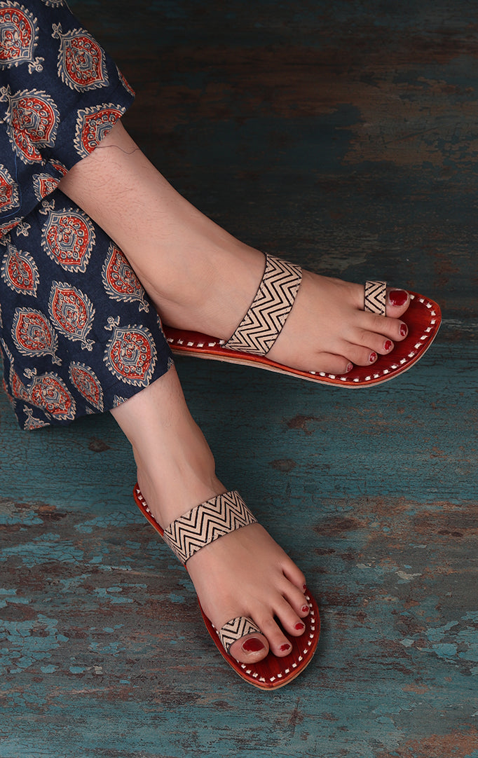 Zig Zag Print Flats with Red Base