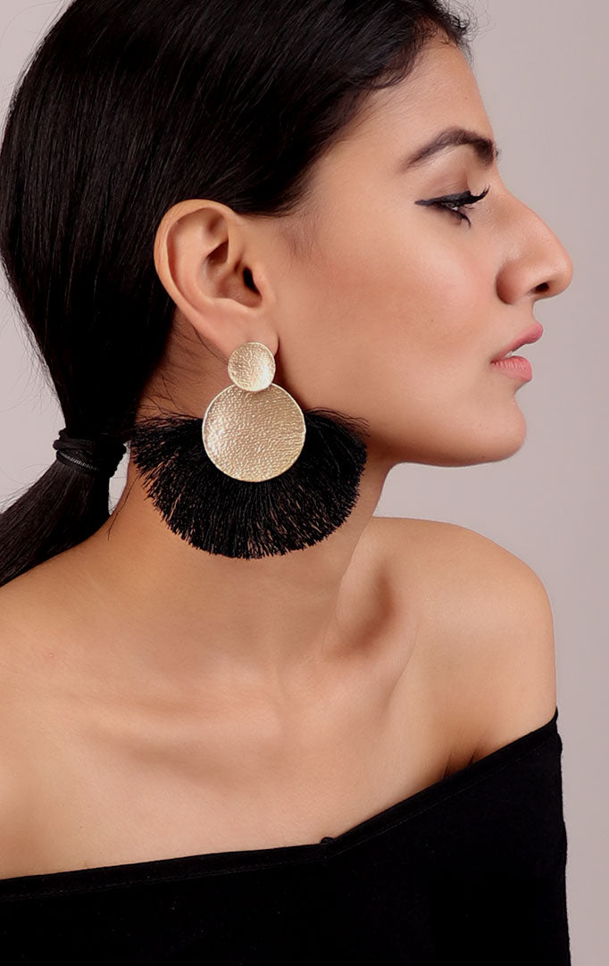 Edgy Black Tassel Golden Earrings