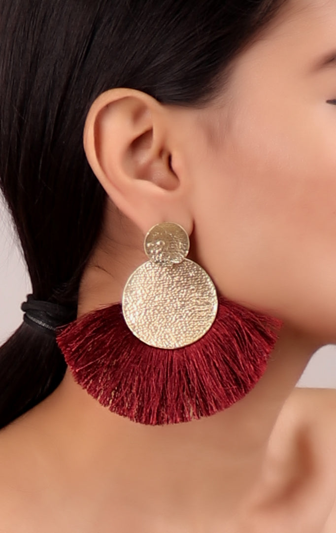 Edgy Maroon Tassel Golden Earrings