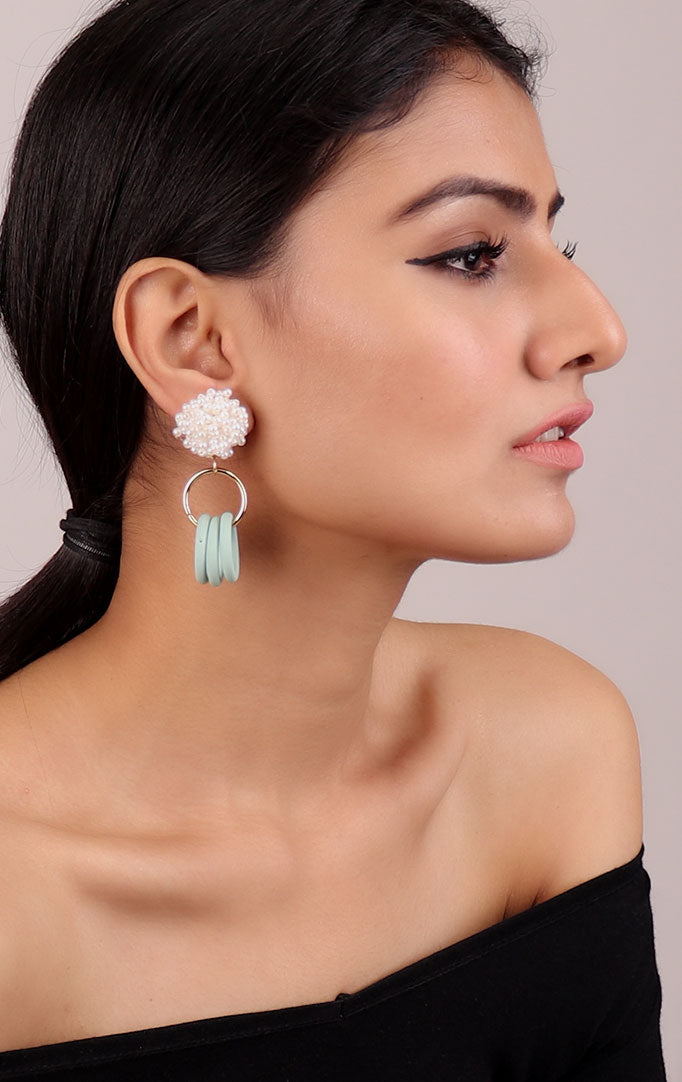 Beaded Circular Statement Earrings in Blue