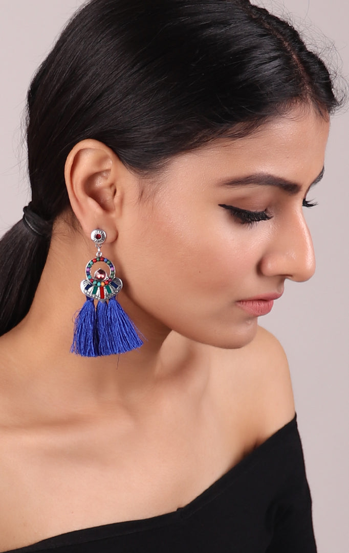 Blue Tassel Earrings with Multicolored Accents