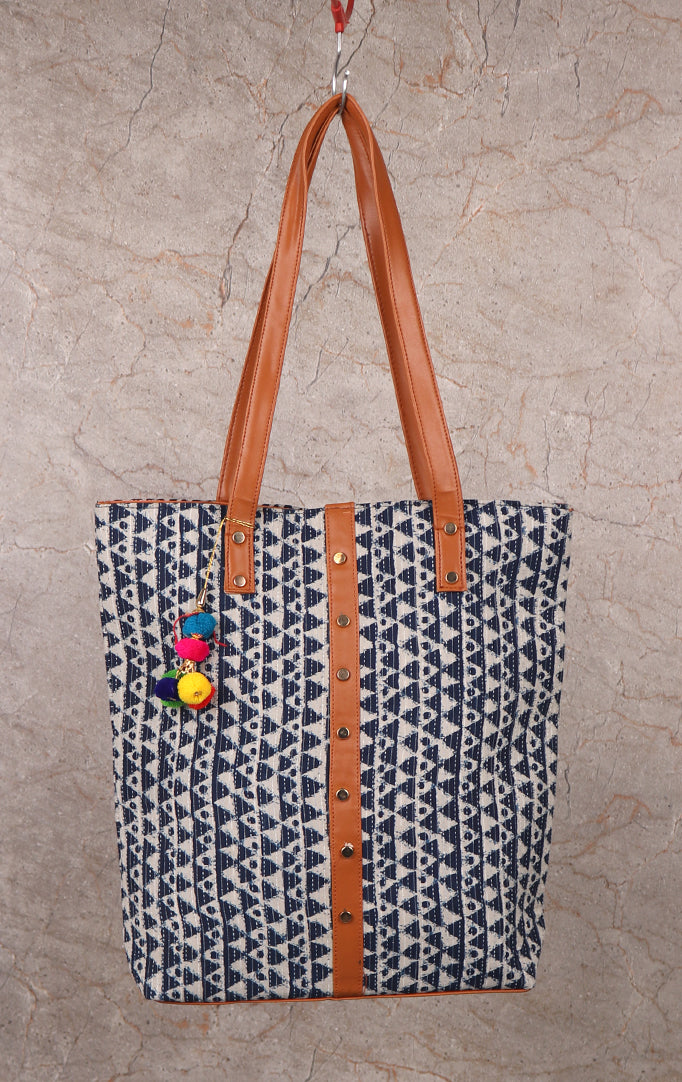 Hills Are Calling Tote Bag With Block Print