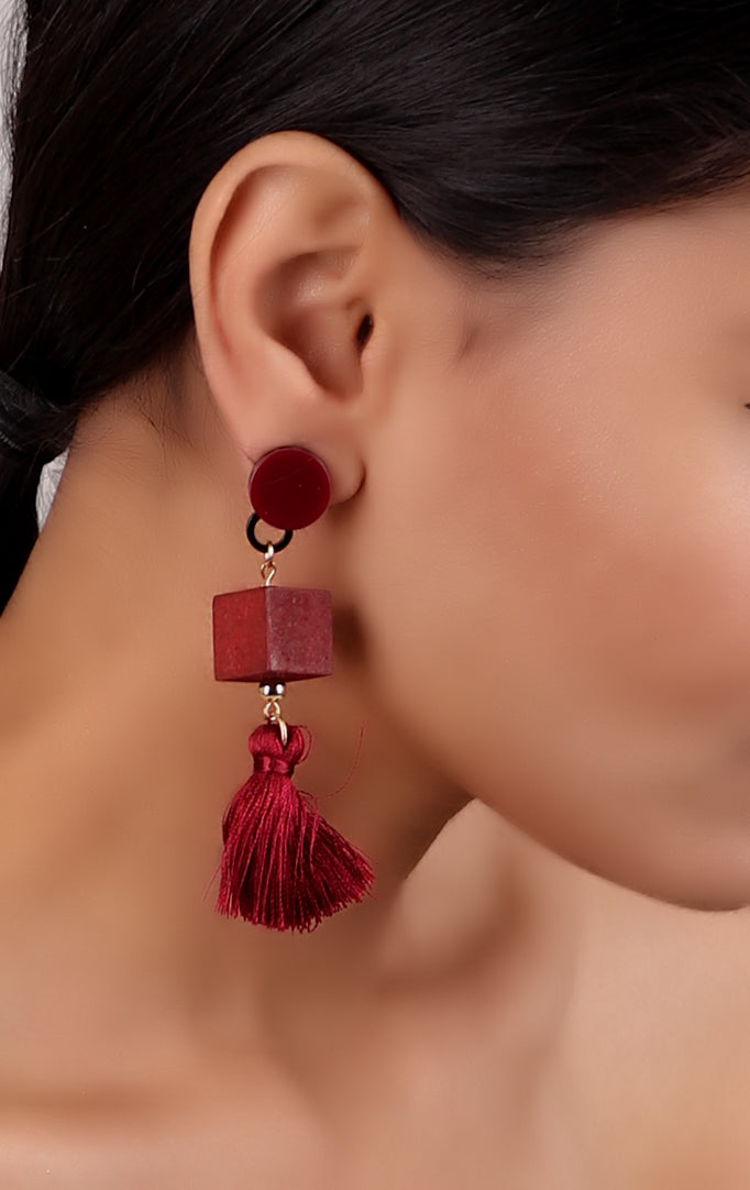 Maroon Geometric Earrings