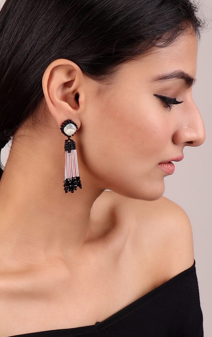 Crystal Beaded Earrings in Black-White