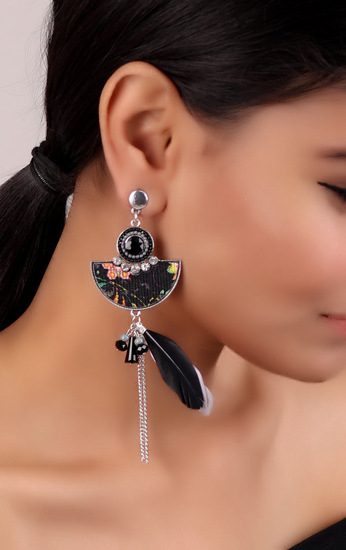 Feather Earrings with Floral Print