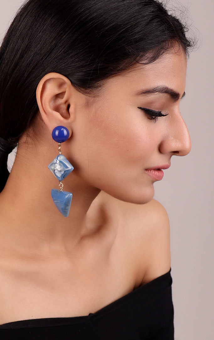 Shaded Blue Statement Earrings