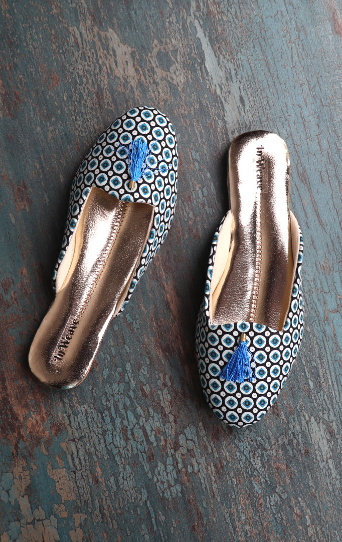 Wild Flower Mules In Blue