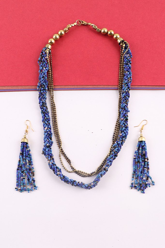 Blue & Gold Beaded Necklace