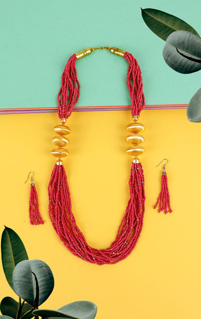 Pink Shaded and Gold Beaded Necklace with Earrings