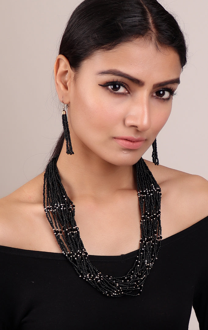 Black Beaded Multilayer Necklace