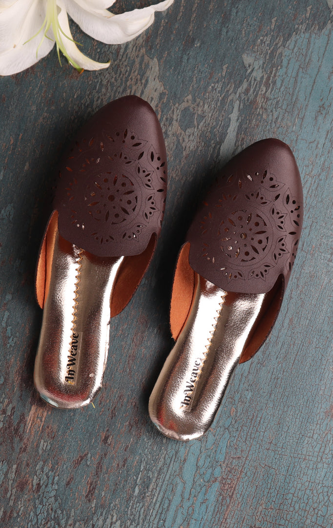 Coffee Brown Fancy Mules