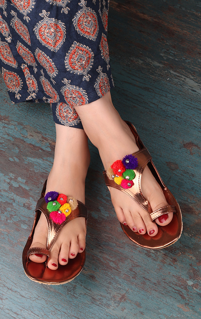 GOLDEN STRAPPED Sandals WITH POMPOM And Ghungroo
