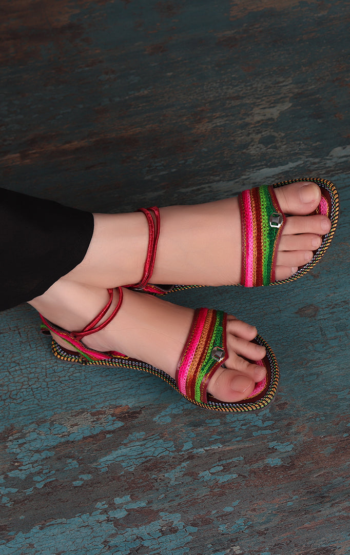 Ankle Strap Flats In Multicolor