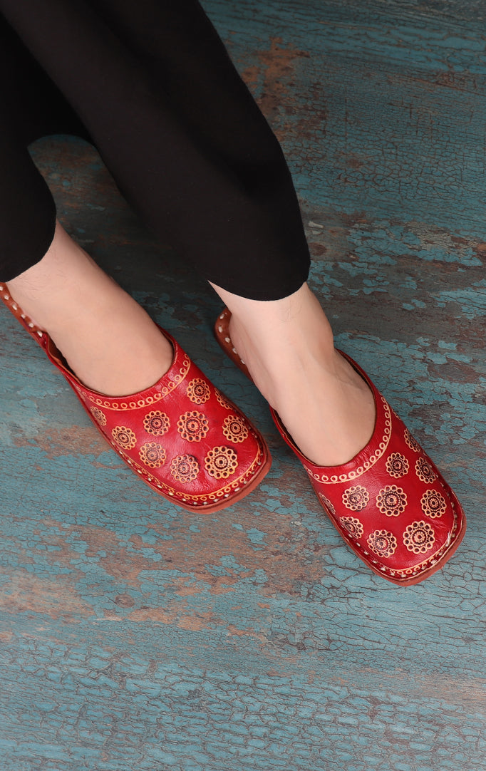 Rusty Red PRINTED LEATHER SLIP-ONS