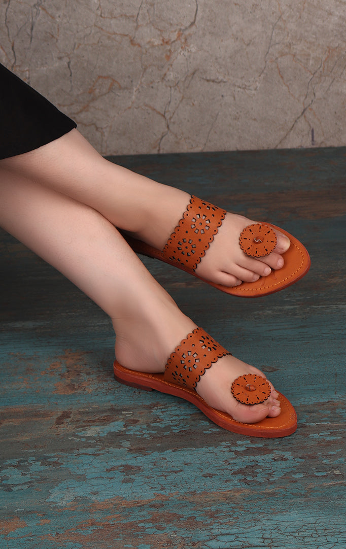 TAN  PADUKA WITH CUTWORK