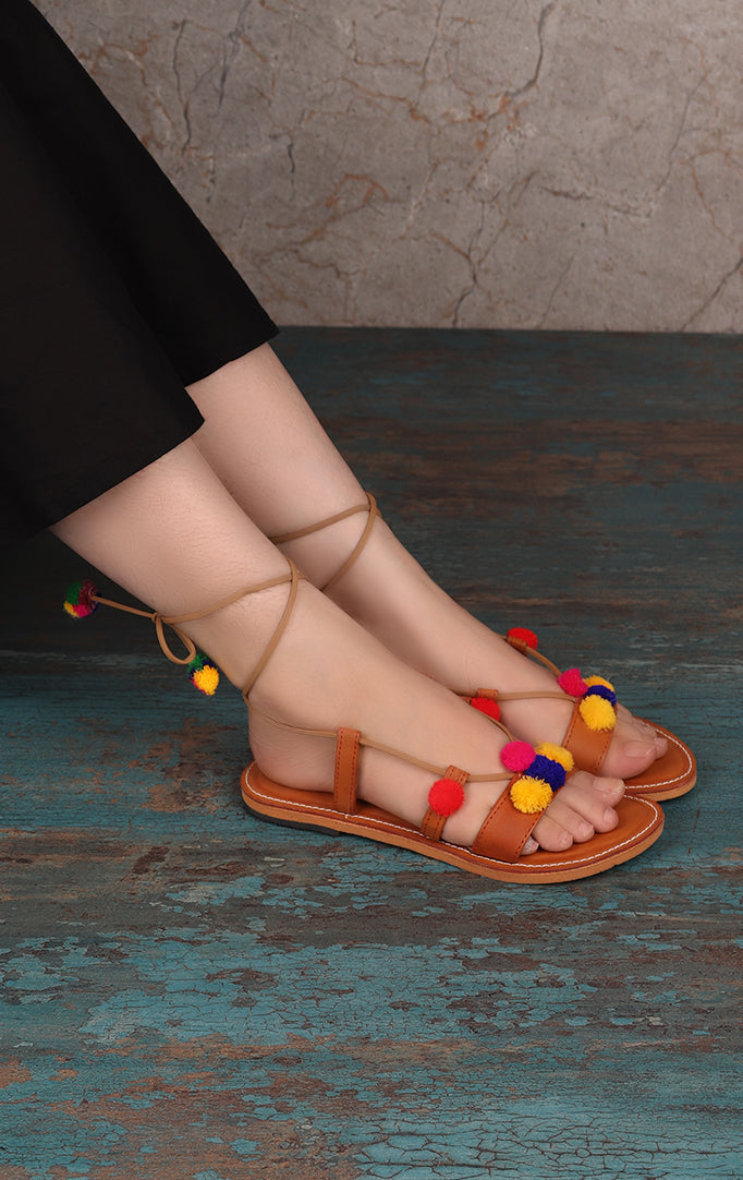 TIE Up SANDALS WITH POMPOMS