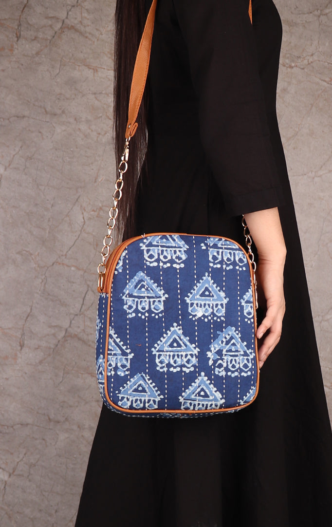 Triangle Block Print Sling Bag