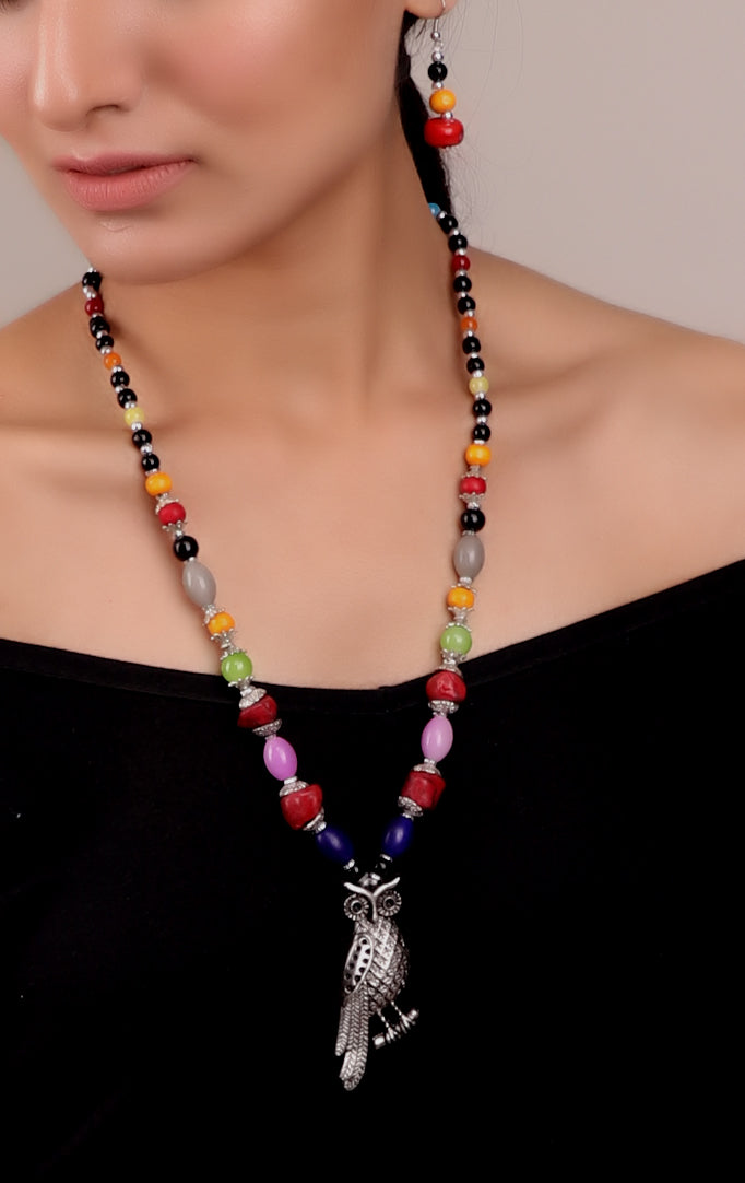 Owl Pendant Beaded Necklace Set