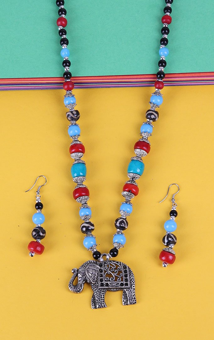 Elephant Pendant Beaded Necklace Set