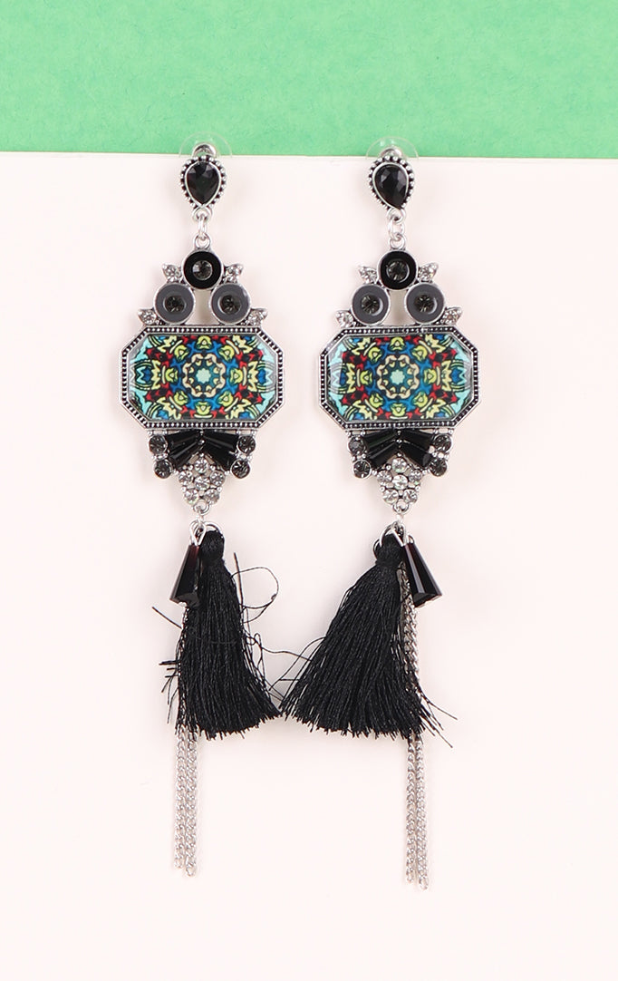 Oxidized Tassel Earrings with Blue Accents