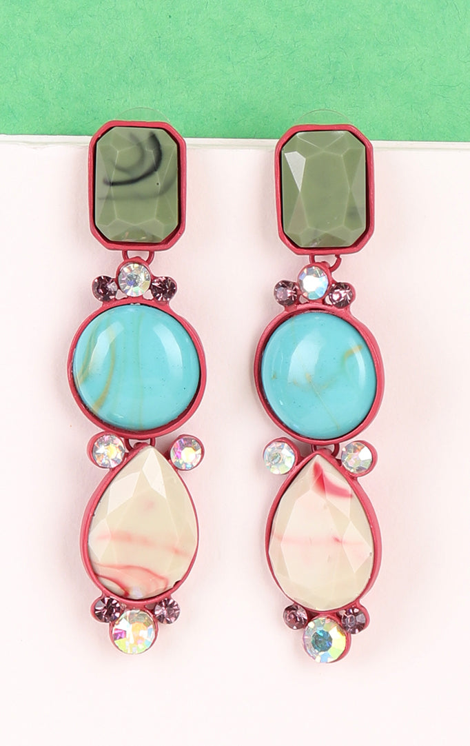 Shaded Green Statement Earrings