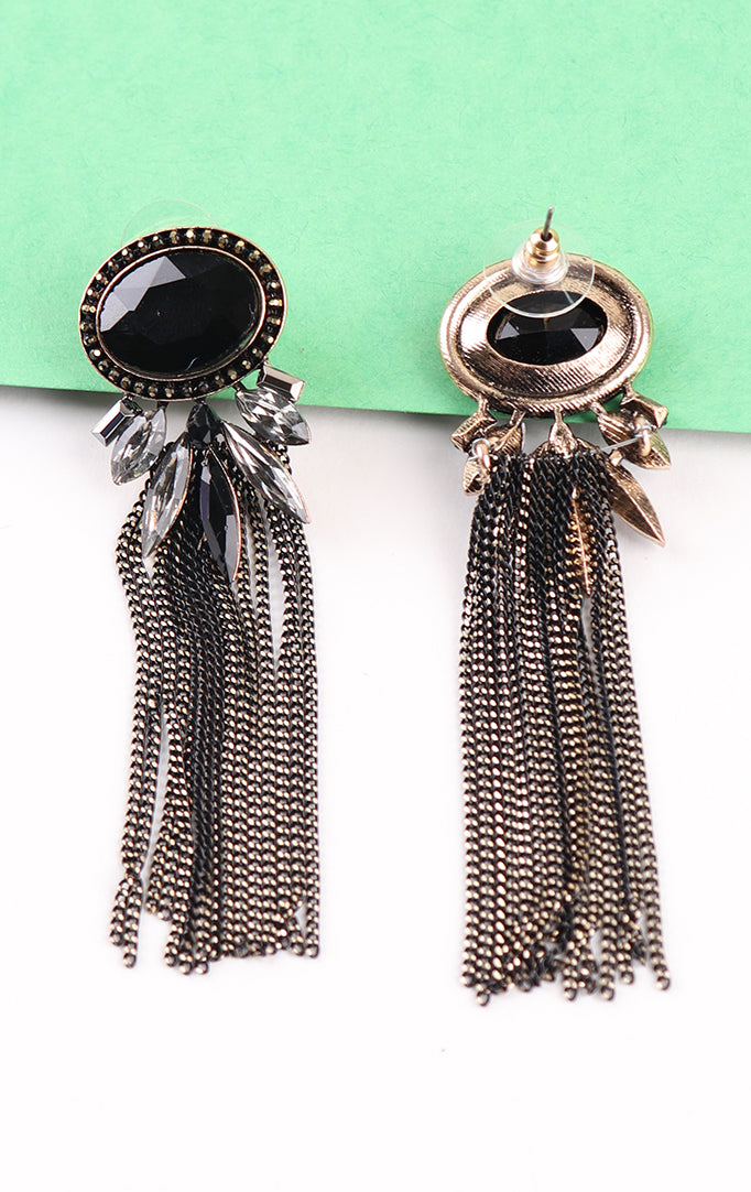 Crystal Tassel Earrings in Black
