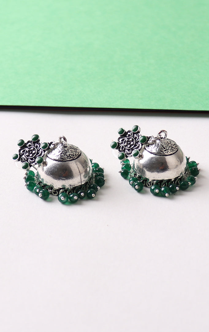 Plain Silver Jhumkis with Green Beads