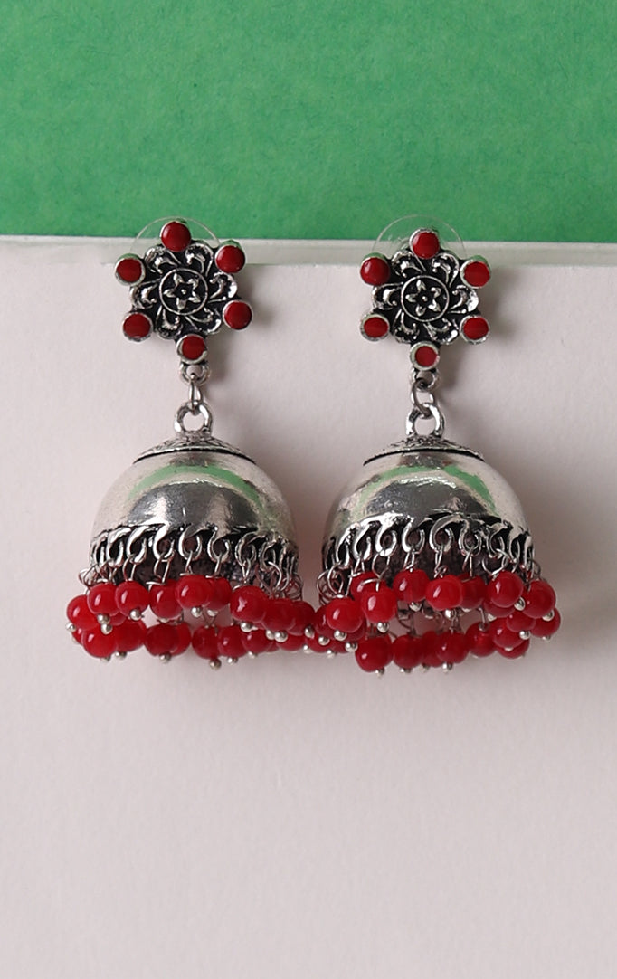 Plain Silver Jhumkis with Red Beads
