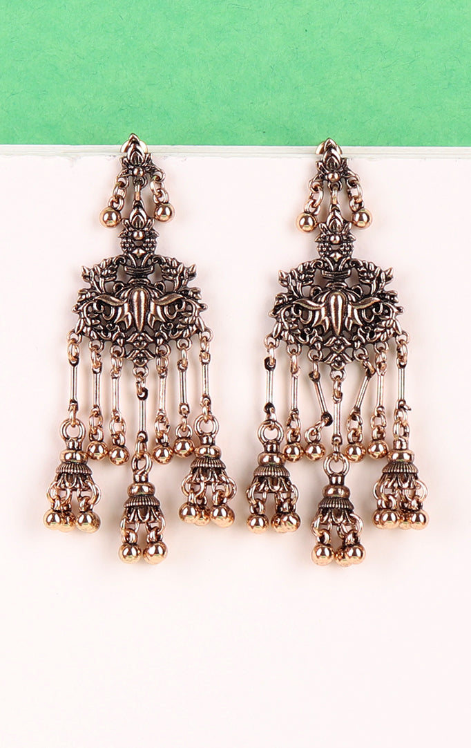 Delicate Long Jhumki in Silver-Red