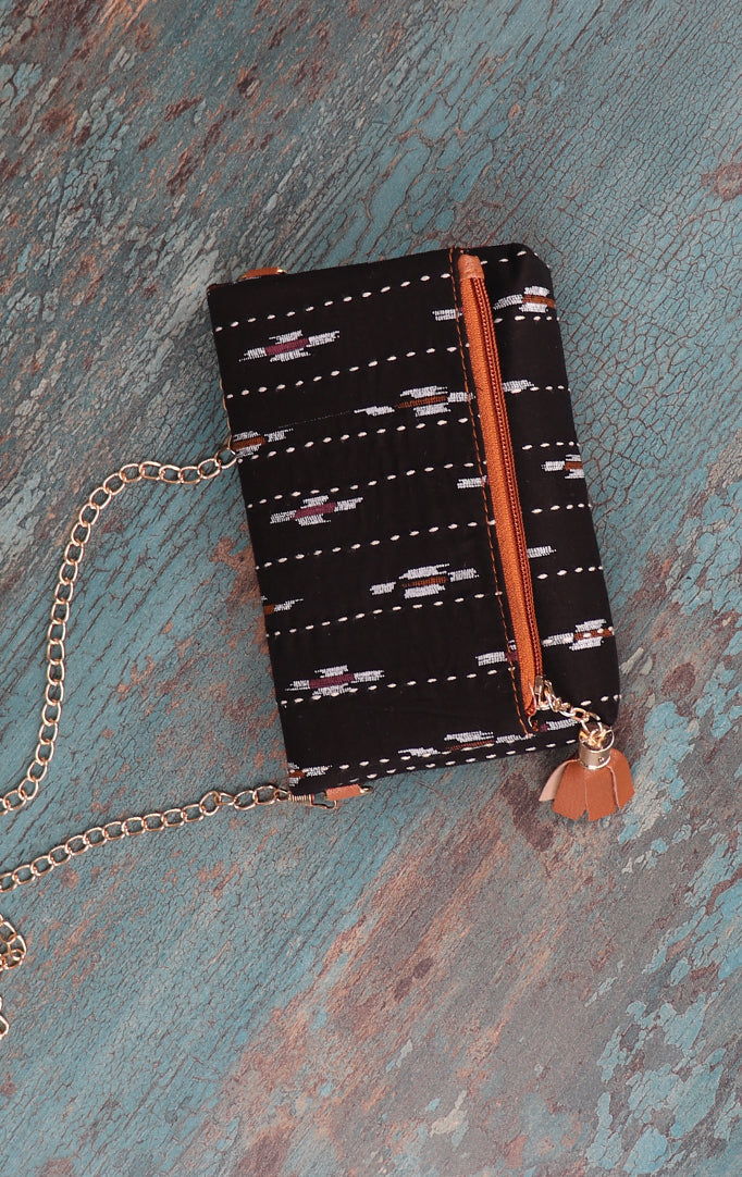 Ikkat Print On Black Clutch with Golden Sling