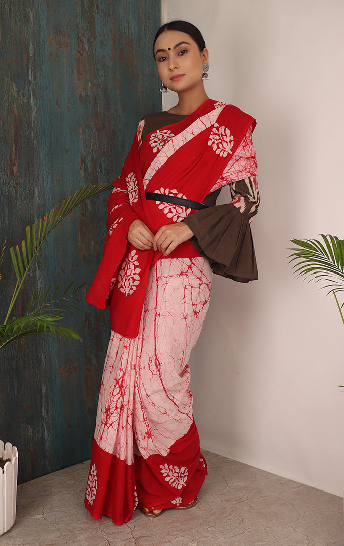 ATAVISM SAREE IN PINK BORDER