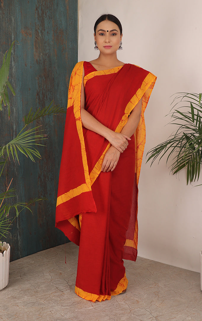 HUMBLE BEGINNINGS SAREE IN RED