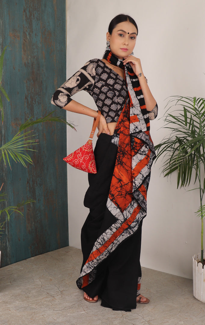 MADE FOR THE QUEEN SAREE WITH ORANGE PALLU