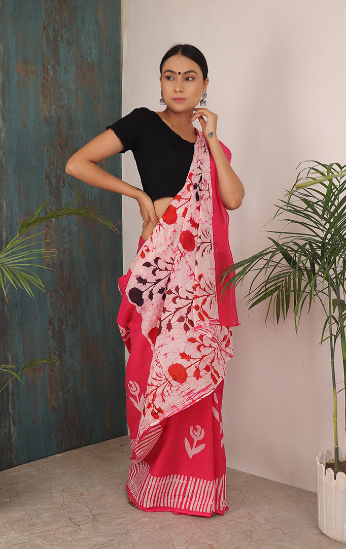 PRESSED MARIGOLDS SAREE IN PINK
