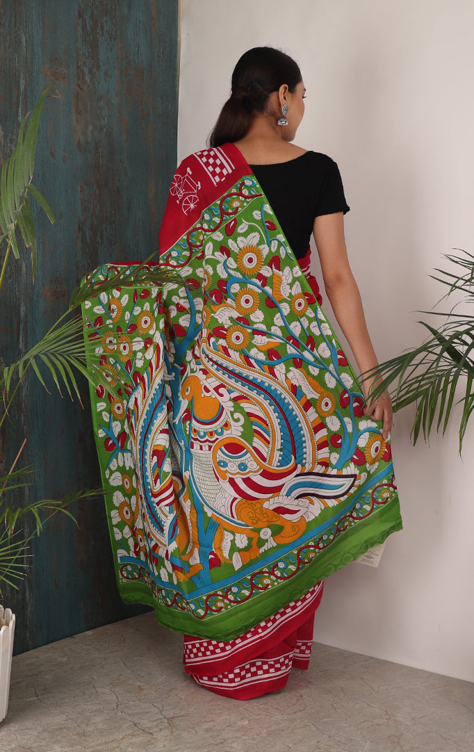CYCLING THROUGH LIFE PRINTED SAREE