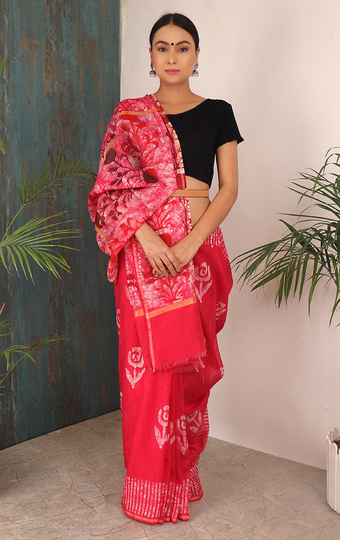 PRESSED FLORALS  SAREE IN PINK