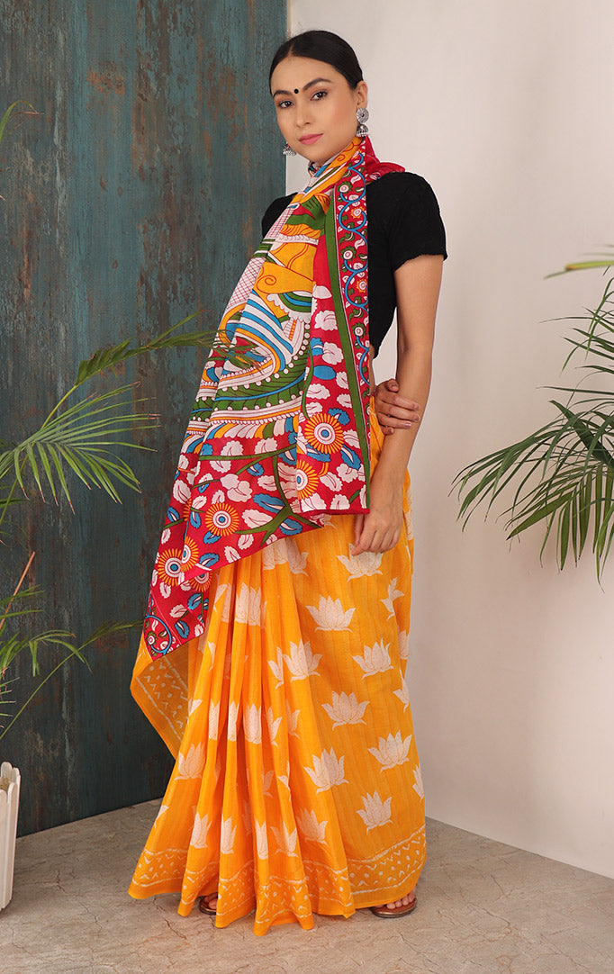 LOVING LOTUS SAREE WITH CONTRASTING PALLU