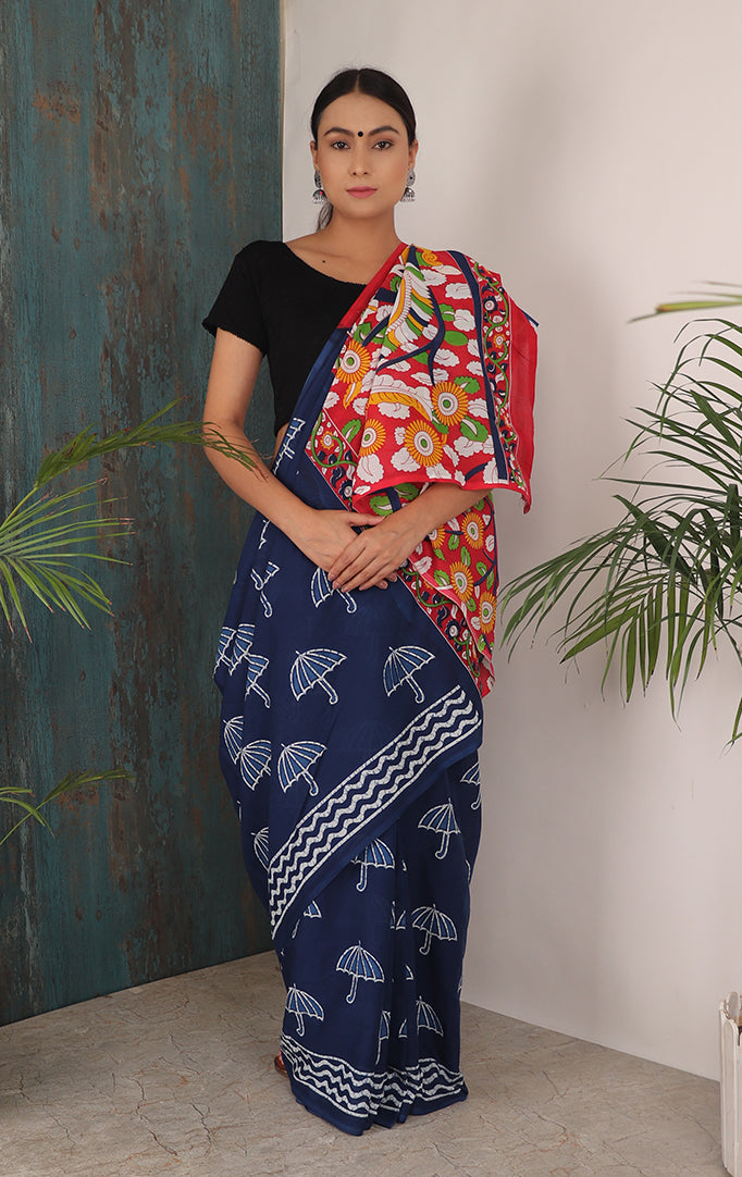 IT'S GONNA RAIN SAREE WITH CONTRASTING PALLU