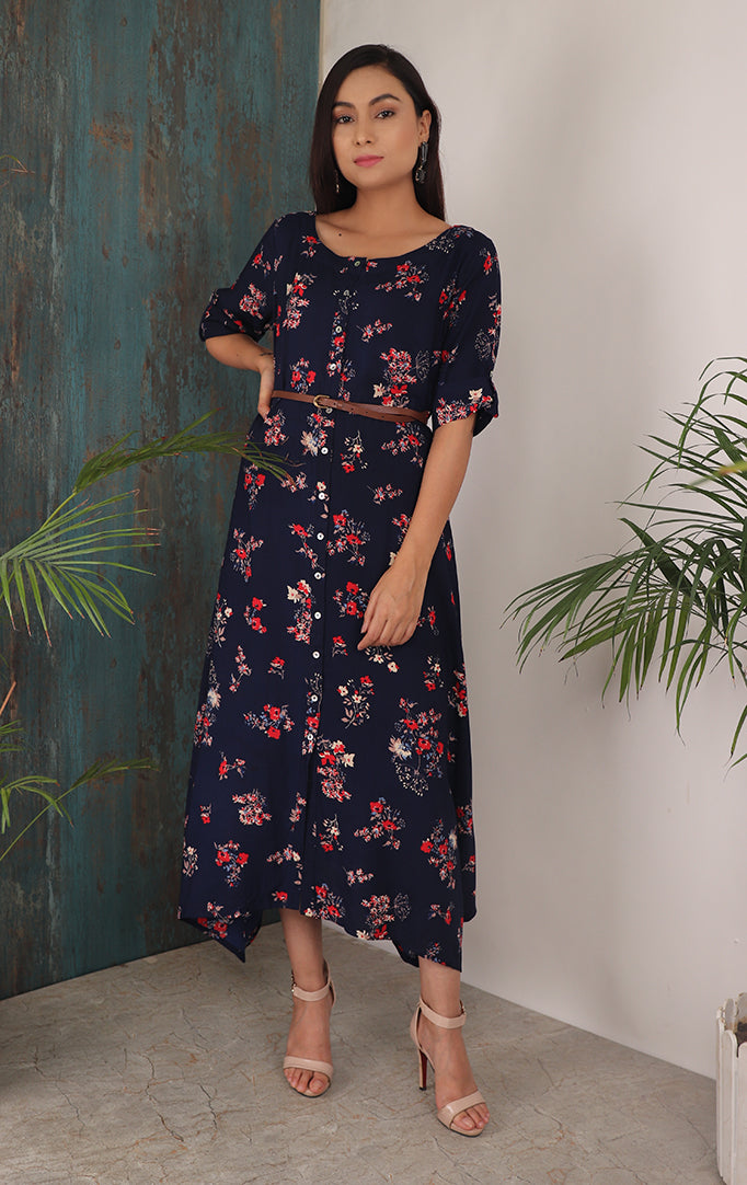 Floral solid Maxi Dress