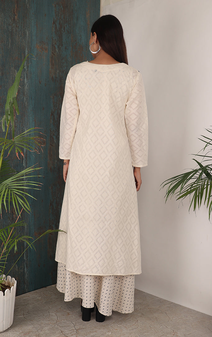 Off white kurti with shrug